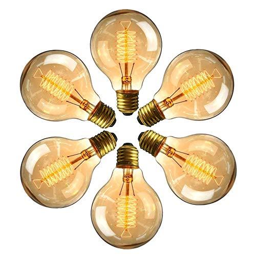 Edison Vintage Glühbirne, massway Dimmbar Filament Lampe E27 G80 40W Warmweiß Antike Dekorative Glühlampe, Nostalgie und Retro Beleuchtung im Restaurant Haus Café Bar - 6 Stück