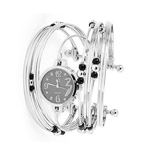 sourcingmap® Donna Quadrante Rotondo 12 Linee Gemelli Da Polso Bracciale,braccialetto Orologio Al Quarzo