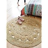 Jai Shri Shyam Jute Round Shape Single Piece Floor Rug/Fancy Door Mats_90X90 cm_Natural