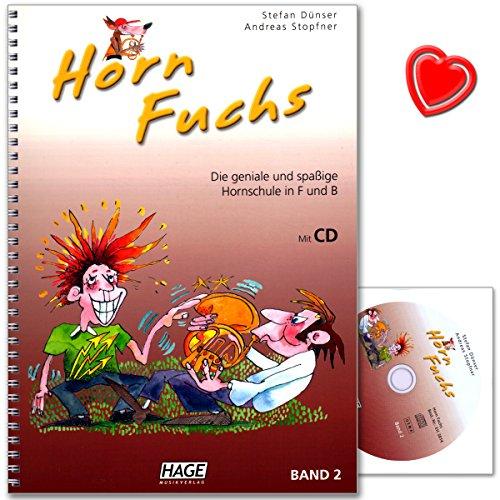 Horn Fuchs Band 2 - Die geniale und spaßige Hornschule in F und B von Stefan Dünser und Andreas Stopfner - Lehrbuch mit CD und bunter herzförmiger Notenklammer