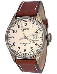 Junkers Automatik Herren Flieger Uhr Limited Edition 1. Atlantikflug Ost-West v. 1928 mit Leder Armband