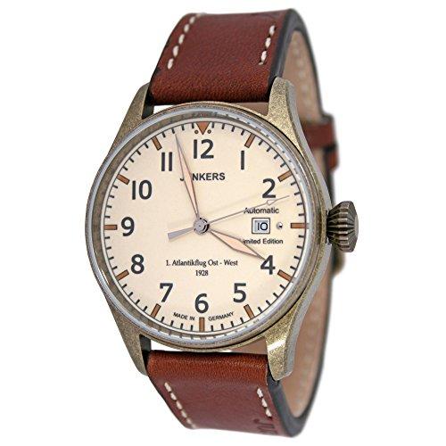 Junkers Reloj de pulsera automático para hombre, diseño conmemorativo de la primera travesía del Atlántico en 1928 con correa de cuero
