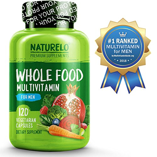 NATURELO Whole Food Multivitamin For Men | Best For Energy, Brain, Heart And Eye Health | Organic Fruit & Vegetable Blends And Wholefood Antioxidants – 120 Capsules