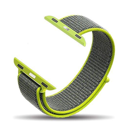 Corki - Correa para Apple Watch de 42mm, Banda Pulsera Brazalete de Repuesto de Nylon Tejido Bucles Deportivo para iWatch Apple Watch Series 3, Series 2, Series 1, Nike+, Edition, Amarillo Neón