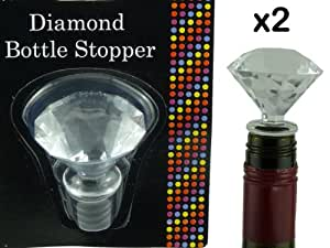 NEW - 2 x DIAMOND SHAPED WINE BOTTLE STOPPERS - CREATES AIR-TIGHT SEAL - EASIER THAN REPLACING CORK - BRAND NEW