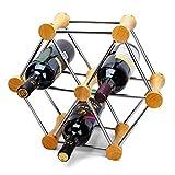 JASNO Wine Rack in Acciaio Inox E Mensola in Legno può Cambiare Forma Display Stand Home Ornamenti Creativi