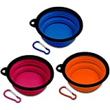 Travel Dog Bowl Collapsible Set, PETBABA Lightweight No Spill Portable Silicone Dog Food Bowl with Clip