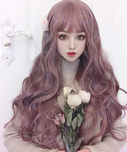 Perücke Cosplay,Sweet Lolita Perücke Frau Air Liu Hai Langes lockiges Haar Fluffy Big Wave Langes Haar Taro Lila Kunsthaar Halloween Party