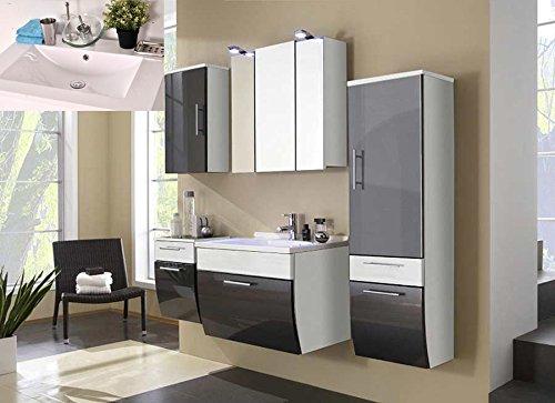 #SAM® Badmöbel-Set Santana 5tlg, 70 cm, in anthrazit-weiß, Mineralgussbecken in eckig, mit Softclose-Funktion, 1 x Spiegelschrank, 1 x Waschplatz, 1 x Hochschrank, 1 x Unterschrank, 1 x Hängeschrank#