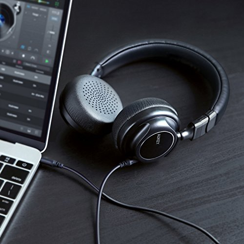 AUKEY Bluetooth Kopfhörer Kabellos on Ear, Dual 40mm Treiber mit Sattem Bass, 18 Stunden Spielzeit, Mikrofon und 3,5-mm-Audioeingang, Transportetui, Ermüdungsfreies Tragen - 5