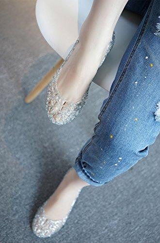 79363a472960 Donna Ballerine Estive Scarpa Zeppa Basse con Punta Chiusa Sandali Jelly  Comode Traspirante Eleganti Morbido Nero Bianco Rosa Oro Giallo 35-40