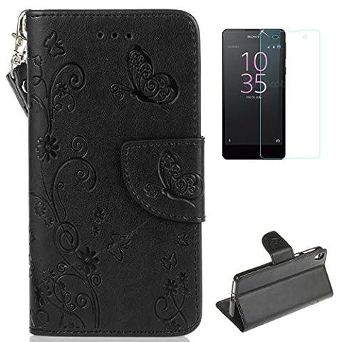 Coque Sony Xperia E5 Portefeuille Cuir Housse [avec Protections D'écran