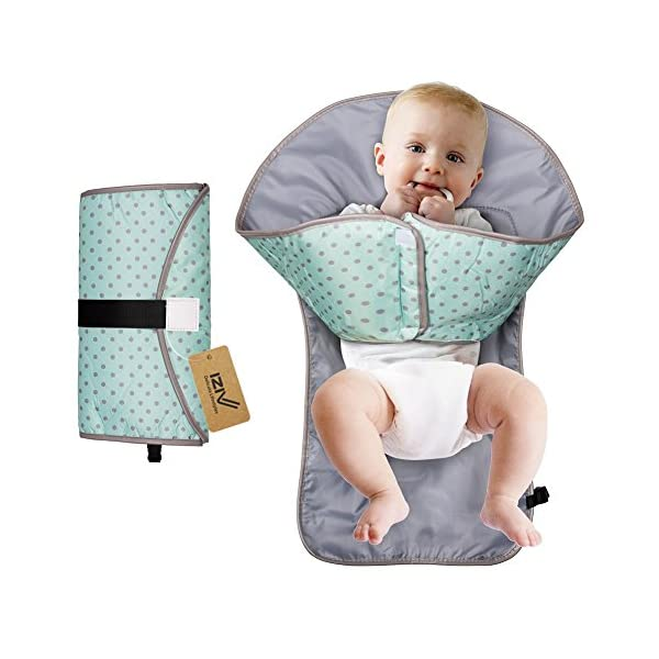 """iZiv Portable Clean Hands Changing Pad, 3-in-1 Diaper Clutch, Changing Station, Diaper-Time Playmat with Redirection Barrier for Use with Infants, Babies and Toddlers (Blue) iZiv 100% Polyester Baby Diaper Clutch: Folds small and holds diapering Changing Pad: Large water-resistant changing pad with 1/4"""" thick foam pillow Sides fold up and loops allow you to attach toys to keep those curious little hands happy during changing time 1"""