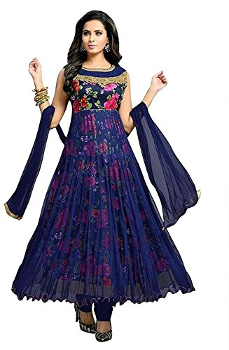 Dhruv Fab Women\'s Georgette Printed Anarkali Gown (Blue Color_Free Size)