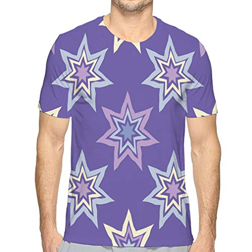 Men's Dry Tee, Solid Cotton Crew Shirt for Men Seamless Decorative Stars Textile Rapport -