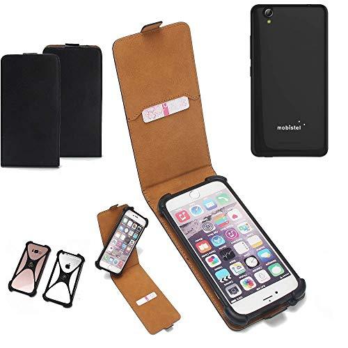 K-S-Trade Flipstyle Case für Mobistel Cynus E7 Schutzhülle Handy Schutz Hülle Tasche Handytasche Handyhülle + integrierter Bumper Kameraschutz, schwarz (1x)