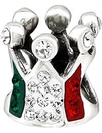 So Chic Joyas - Abalorio Charm corona Princesa italiana Italia Cristal Bandera Verde Blanco rojo - Compatible con Pandora, Trollbeads, Chamilia, Biagi - Plata 925