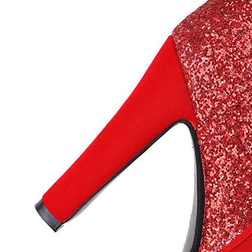 AgooLar Femme à Talon Haut Haut Bas Couleur Unie Zip Bottes avec Paillette Rouge