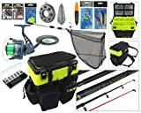 Sea Fishing Kit. Complete Sea Fishing Rod & Reel Set Including SEA MAX© Seat Box & Rucksack