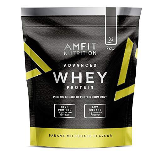Marchio Amazon - Amfit Nutrition Mix di proteine Whey del siero di latte gusto milk-shake alla banana, 32 porzioni,  990 g