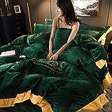 4 Teilige Bettwäsche Sets, Flanell Dicke Warme Koralle Fleece Bettbezug Set, Langlebig Lichtbeständig, mit Reißverschluss (1 Bettbezüge, 1 Spannbettlaken, 2 Kissenbezug),002,SuperKing