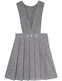 b7e5a2f25115 Sunboree Mädchen Kleid V-Ausschnitt Gefaltet Saum Schuluniform Gr. 110-158