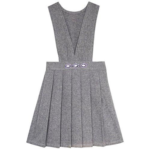 JX91 Sunny Fashion Vestido para niña V Cuello Plisado Dobladillo Colegio Uniforme 6 años