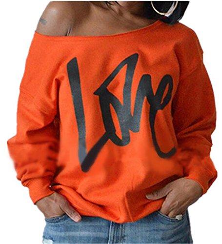 Aoliait Basique Sweat-shirts Femme Lettres Imprimé col rond Sport Blouse à manches longues University Pull Casual Chemises Blouses Hauts Détendu T-Shirts Orange