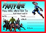 AVENGERS CHILDRENS BIRTHDAY PARTY INVITES INVITATIONS X 10 PACK WITH ENVELOPES THOR THE HULK CAPTAIN AMERICA IRON MAN