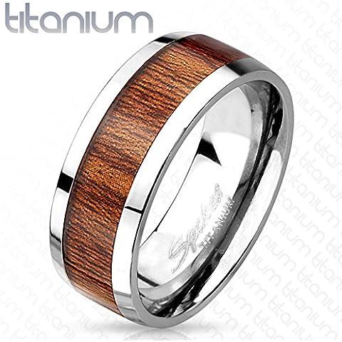 bungsa® Titan anello con legno marrone medio anello per uomo e donna 60626467anello (argento anelli partner anelli di fidanzamento Anello TRAURINGE titanio anello Organic)