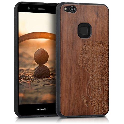 kwmobile Holz Schutzhülle für Huawei P10 Lite - Hardcase Hülle mit TPU Bumper Walnussholz in Elefantenmuster Design Dunkelbraun - Handy Case Cover