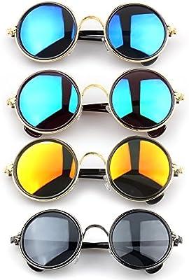 Vococal - 1 par Gafas de Sol Colores Sombras - Lentes de Espejo de Retro Círculo Redondo,Marco de Metal - Hombre Mujer Unisex