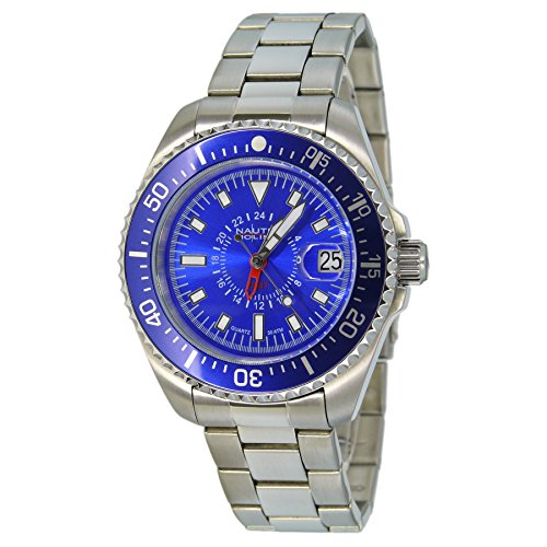Nautec No Limit DS QZ-GMT/STSTBLBL Gents Watch XL Analogue Quartz Stainless Steel Deep Sea
