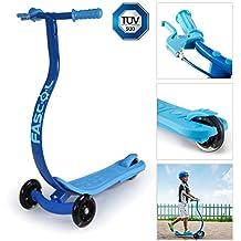 Fascol® Motorino con freno a mano e pedale, ergonomica e antiscivolo, per evitare incidente, Brillante PU a rotelle, da 3-8 anni