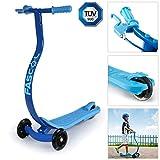 Fascol® C-Form Geschwungenes Design Alu Kinderroller Anti-Rutsch Kinder Scooter mit 3 Flash Rädern, für Kinder von ab 3-8 Jahre, bis 60kg Belastbar - Blau