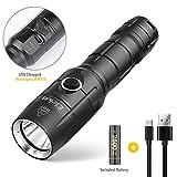Flashlight,Torcia Militare alta potenza Torce LED Ricaricabile,1200 Lumen,impermeabile IPX6, 5 modalità di illuminazione,Nero