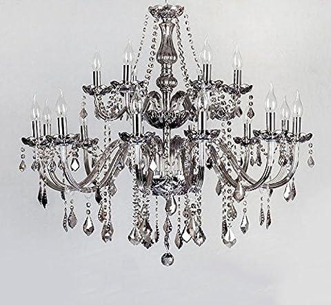 Europäische Kristall-Kronleuchter Rauch grau Wohnzimmer Licht Restaurant Lichter Schlafzimmer Lichter Jane europäischen Kerze Kronleuchter , 18