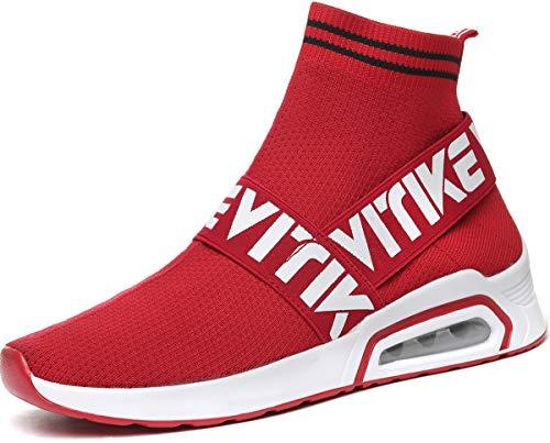 Elaphurus Damen Mode Sneaker im Socken Unisex Leichte Atmungsaktive Turnschuhe(Rot 39EU) Mode Sneakers Schuhe