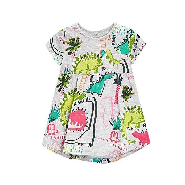 Aini Vestido De BebéS De Verano Vestido De Manga Corta para NiñA Vestido Estampado Camiseta Infantil Vestido De… 1