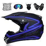 MRDEAR Motorradhelm, Motorrad Crosshelm, Motocross Helm mit Brille (5 Stück) - Schwarz und Blau - Off Road Helm Fullface MTB Schutzhelm für Herren Damen Sicherheit Schutz,L