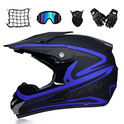MRDEAR Motorradhelm, Motorrad Crosshelm, Motocross Helm mit Brille (5 Stück) - Schwarz und Blau - Off Road Helm Fullface MTB Schutzhelm für Herren Damen Sicherheit Schutz,M
