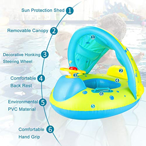 joylink Flotador para bebé,  6- 36 Meses Flotador Anillo de Natación Bebé Swim Ring Inflable Piscina Flotador Bebé con Toldo Ajustable Parasol Protección UV
