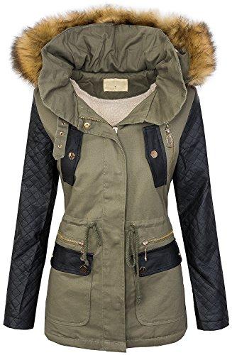 Damen winter jacke teddyfell futter parka kunstleder ärmel warm winterjacke D-246 S-XL
