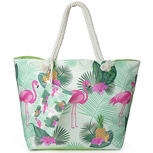 Große Wasserdicht Strandtasche mit Reissverschluss, ZWOOS Damen Shopping Shopper Tasche Reisetasche Canvas Schultertasche für Reise, Kaufen, Ausflug usw. (Flamingo)
