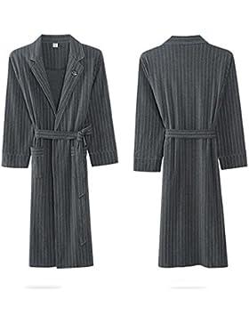 SUxian Gran Albornoz de algodón de los Hombres de Moda de Manga Larga Bata Albornoz camisón Pijamas con Pretina