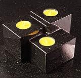 Aufwendig polierter Kerzenständer aus Star Galaxy Granit 15x16x10cm