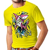 N4340 T-shirt pour hommes Le requin (Small Jaune Multicolore)
