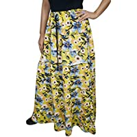 Mogul Interior Ladies Tiered Skirt Karly Yellow Floral Printed Boho Gypsy Summer Vintage Skirts S/M