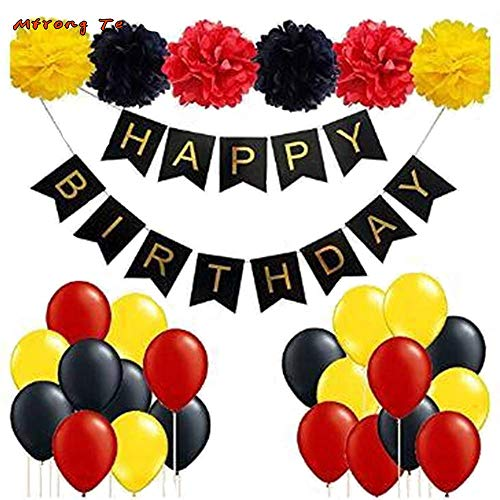 ATEZIEU Mickey Mouse Geburtstagsparty Zubehör/Red Black Yellow Party Dekoration - Happy Birthday Banner Party Ballons Kit für Mickey Mouse Geburtstagsdekoration