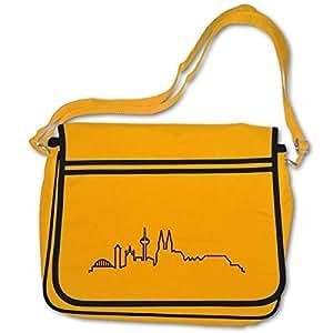 plot4u Freizeittasche Köln Skyline Silhouette Bag Base® BagBase Retro Messenger 40x30x10cm goldgelb/schwarz